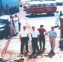 Image of William B Walsh waiting arrival of the SS HOPE in Conakry, Guinea 1964.
