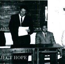 Image of James Madison far right with Alberto Alvarado Dean of the U of Cuenca. 1965
