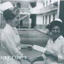 Image of Alice James in hospital in Quayaquil, Ecuador 1963.