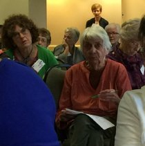 Image of Faye Pyles, Dorothy Aeschliman and Val Cook in the back at the 2016 reunion