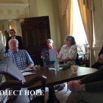 Image of Bob Morrow, Barbara Adams and ? in Carter Hall at 2016 reunion