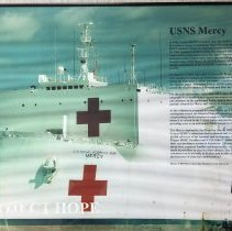 Image of Picture of the Navy ship USNS Mercy on display in the Education Center 2016