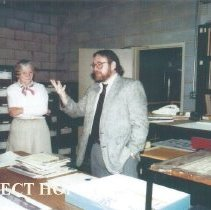 Image of Al Childs, Eunice Childs and Chuck Hill during 1991 Alumni Board Meeting