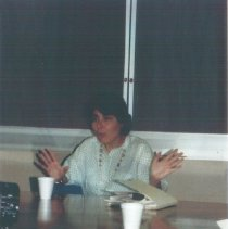 Image of Maggie Peterson speaking at the 1991 Alumni Board Meeting