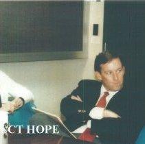 Image of ? and John Warren at 1987 Alumni Board Meeting at Carter Hall