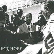 Image of Congo President Mobutu, Ambassador Calhoun and Dr Ley