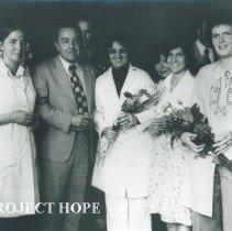 Image of Al Spock, Pat Jordon, Chuck Lanning, Dr Markowa, Rita Chapman in Poland.