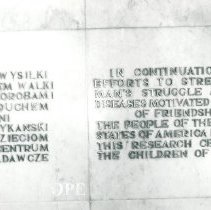 Image of Dedication Plaque in Childrens Hospital in Poland.
