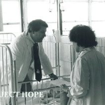 Image of Dr Terry King with counterpart at Institute of Pediatrics in Poland.
