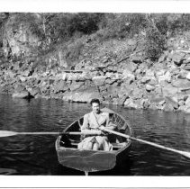 Image of Aletha Brooks in a rowboat