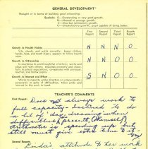 Image of Linda Lee report card 1953-54 p2
