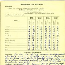 Image of Linda Lee report card 1953-54 p3