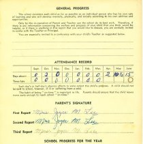 Image of Linda Lee report card 1953-54 p4