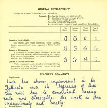 Image of Linda Lee report card 1954-55 p2