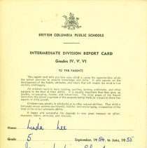 Image of Linda Lee report card 1954-55