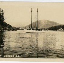 Image of Two-masted sailboat postcard front