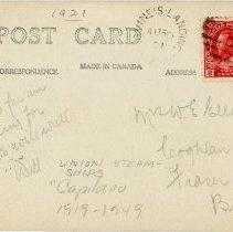 Image of SS Capilano II postcard back