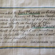 Image of Trappitts' tapestry presentation to Marshes