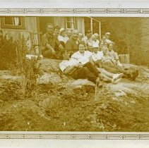 Image of Postcard front 1934 clam party Jervis Inlet