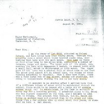 Image of John West letter Nelson Island fish