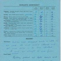 Image of Bob Fielding's report card 1960 p3