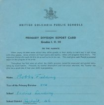 Image of Bob Fielding's report card 1960