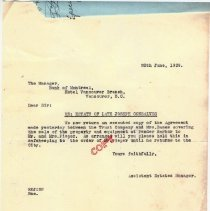 Image of District Lot 1543 Royal Trust letter