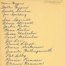 Image of Maples Leaf School student list handwritten