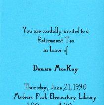Image of Invitation to Denise Mackay retirement tea