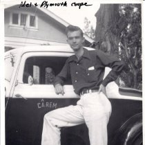 Image of Mel Coolbaugh with Plymounth coupe close up