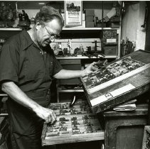 Image of Charles Ryland with type trays