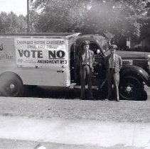 Image of Coors delivery truck with Vote No for local prohibition sign