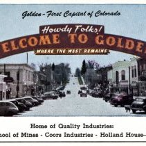 Image of Howdy Folks Welcome to Golden arch postcard front
