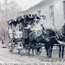 Image of Alonzo Petrie driving an omnibus past the Astor House