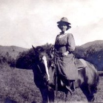 "Image of Katherine ""Kitty"" Tripp on horseback"