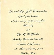 Image of Blanche Wannemaker and D. C. Webber Wedding Invitation