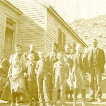Image of Guy Hill Schoolhouse with class outside