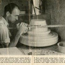 Image of Chester J. Petrie working at Coors Porcelain