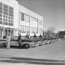 Image of Sheriff Wermuth and Patrol with New 1959 Edsel Fleet