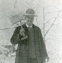 Image of Harley Dean West with snow shovel