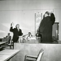 Image of Harold E. Bray Swearing Into Office 1962