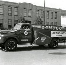 "Image of ""Buck"" Kerbaugh Driving Conoco Truck"