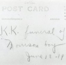 Image of Post card of a Morrison boy's funeral