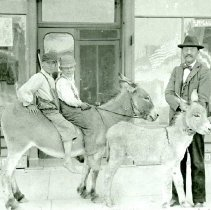 Image of Two boys sitting on burros