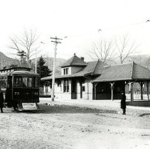 Image of Golden Depot and tramway car