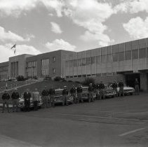 Image of Sheriff's Department Patrol Cars and Staff 1964