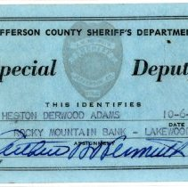 Image of Heston Derwood Adams special deputy card
