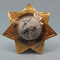 Image of 1958 Mounted Posse Badge Jefferson County Sheriff's Department