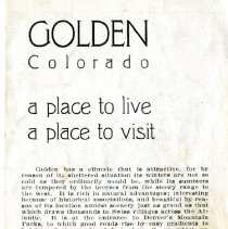 Image of Golden Colorado: a place to live, a place to visit