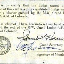 Image of Bill Deason Masons membership card, back